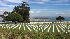 Drive by of Fort Rosecrans National Cemetery Stock Footage