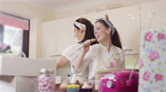 4K Female business partners in home bake business dancing to music on the radio - stock footage