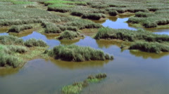 Low flight over extensive marshlands - stock footage