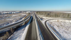 Aerial view road junction at winter Stock Footage