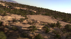 Flight rushing over Arizona's  Cummings Mesa, to view of cliffs Stock Footage