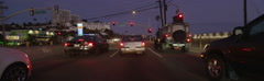 Front view of a Driving Plate: Car travels south on Highway 1 in Santa Monica, Stock Footage
