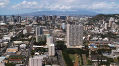 Over Honolulu cityscape. Shot in 2010. Stock Footage