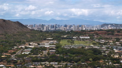 Over Honolulu, downtown in distance. Shot in 2010. Stock Footage