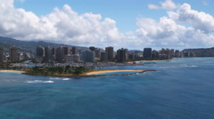 Approaching Waikiki past Ala Moana Park, Honolulu. Shot in 2010. Stock Footage