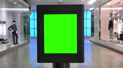 Green billboard for your ad inside the shopping mall Stock Footage
