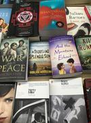 English Books For Sale On Library Shelf - stock photo