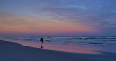 Cocoa Beach Sunset Surfer Silhouette Stock Footage
