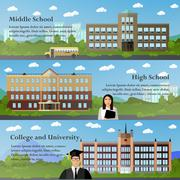 School and university buildings vector illustration in flat style. Education Piirros