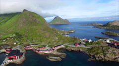 Tourist resort of Mortsund on Lofoten islands in Norway, aerial view - stock footage