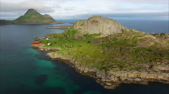 Scenic tiny island on Lofoten islands in Norway, aerial view Stock Footage