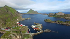Village of Mortsund on Lofoten islands in Norway, aerial view Stock Footage
