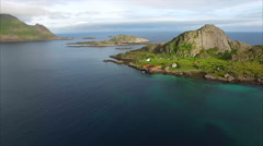 Small fishing ports on Lofoten islands in Norway, aerial view Stock Footage