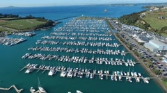 Flying over a marina Stock Footage