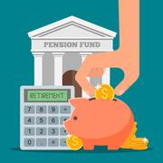 Pension fund concept vector illustration in flat style design. Finance - stock illustration