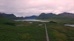 Aerial view of road on Lofoten islands Stock Footage