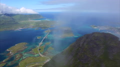 Aerial view of beautiful Lofoten islands in Norway Stock Footage