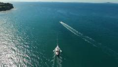 Yacht and powerboat Stock Footage
