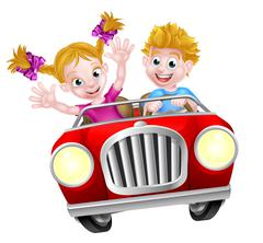 Stock Illustration of Cartoon Boy and Girl Driving Car