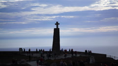 Large cross monument, Cape Roca, westernmost point Europe, Portugal Stock Footage