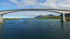 Stock Video Footage of Flying under the bridge on Lofoten islands in Norway