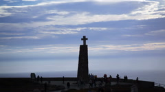 Cross monument, Cape Roca, westernmost point Europe, pan right Atlantic Stock Footage