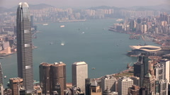 Hong Kong, China city skyline from the Peak. Stock Footage