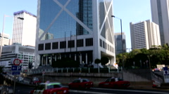 High rise corporate glass buildings in Hongkong. - stock footage