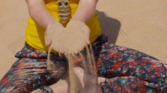 Sand Falling From Hand Stock Footage