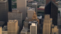 Close flight around downtown Houston near Esperson Building. Shot in 2007. Stock Footage