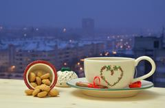 Evening Tea and Amaretti biscuits - stock photo