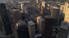 Flight over downtown Houston skyscrapers in afternoon light. Shot in 2007. Stock Footage