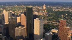 Close flight past layered skyscrapers of downtown Houston. Shot in 2007. Stock Footage