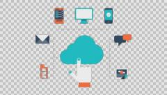 Cloud services - colored animation flat computer generated icons clips alpha Stock Footage