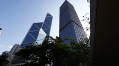 Dolly shot of high rise corporate buildings in Hong Kong. Stock Footage