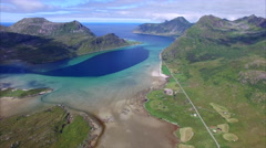 Scenic route around fjord on Lofoten islands in Norway Stock Footage