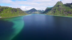 Amazing fjord on Lofoten in Norway, aerial view Stock Footage