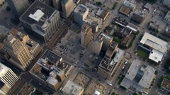 High flight over downtown Houston with steep look down. Shot in 2007. Stock Footage