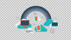 Cloud services 1 - colored animation flat computer generated icons clips alpha Stock Footage