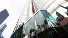 High rise corporate glass buildings in Hong Kong.  Stock Footage
