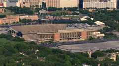 Flight past an open football stadium in Houston. Shot in 2007. Stock Footage