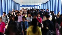 People rushing through Hong Kong city. - stock footage