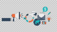 Digital marketing - colored animation flat computer generated icons clips alpha Stock Footage