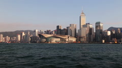 Wide shot of Hong Kong skyline. Stock Footage