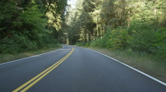 Front view of a Driving Plate: Car travels west on the Redwood Highway near Stock Footage