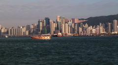 Hong Kong city skyline during early hours of morning. Stock Footage