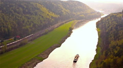 Aerial view of a floating boat on the river Elbe in Saxony, Germany - stock footage