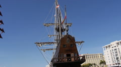 El Galeon - medieval Spanish Pirate ship back view. Stock Footage