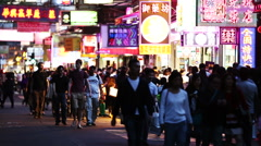 Crowds of commuters and shoppers in Hong Kong. Stock Footage