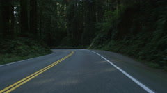 Front view of a Driving Plate: Car travels east on the Redwood Highway near - stock footage